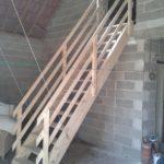 Escalier relevable en bois à La Villeneuve St Vistre dans la Marne, 51