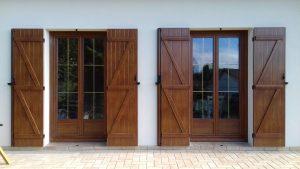 Volet de portes fenêtres en pvc plaxées chêne doré, volets en aluminium, à Rosières près Troyes dans l'Aube, 10